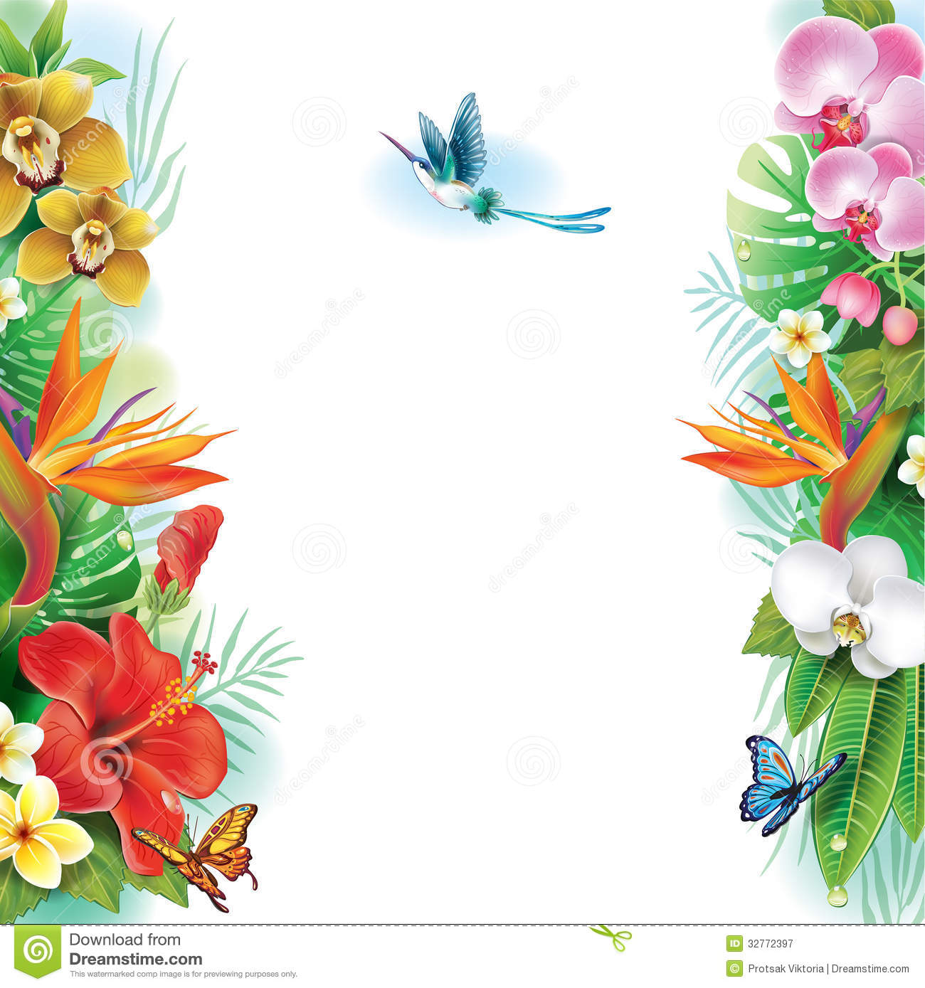Tropical flowers pictures free svg free download Border From Tropical Flowers And Leaves Royalty Free Stock ... svg free download