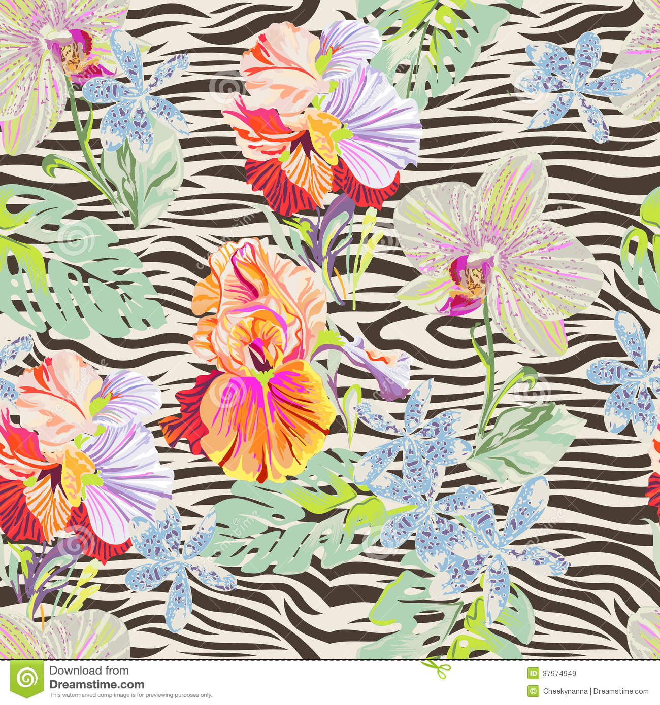 Tropical flowers pictures free vector Tropical Flowers On Zebra Royalty Free Stock Images - Image: 37974949 vector