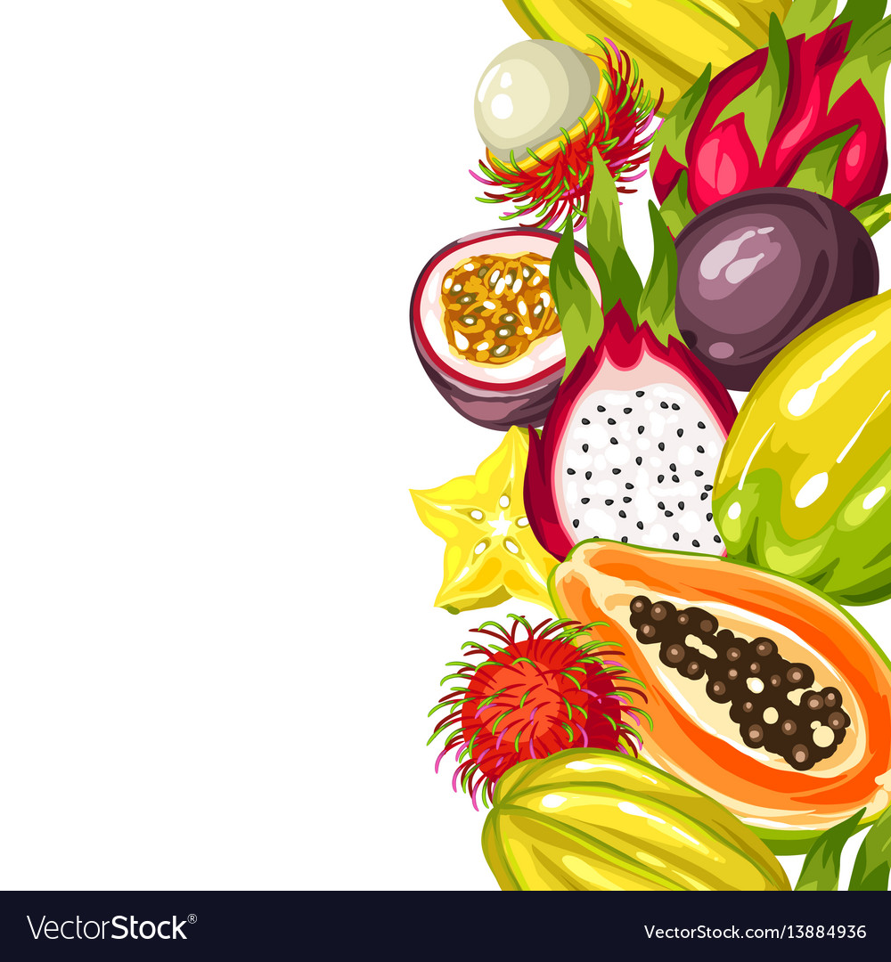Tropical fruit border clipart free clipart freeuse stock Seamless border with exotic tropical fruits clipart freeuse stock