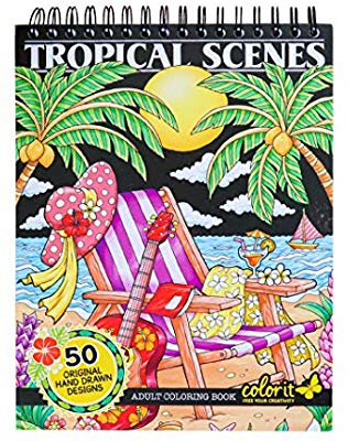 Tropical garden clipart for coloring svg library stock Amazon.com: ColorIt Colorful Tropical Scenes Adult Coloring ... svg library stock