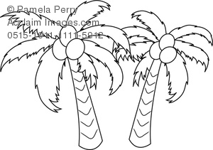 Tropical garden clipart for coloring jpg black and white library Clip Art Image of a Coconut Palm Trees Coloring Page jpg black and white library