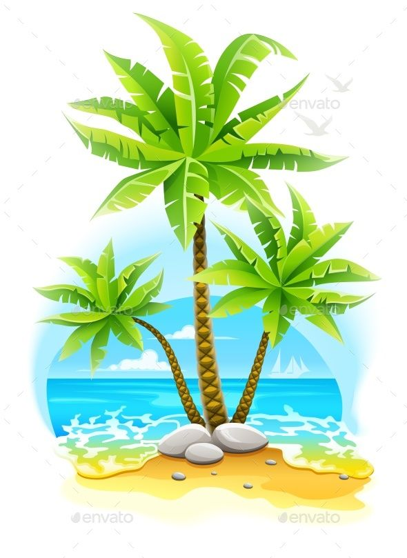 Tropical island baby clipart png royalty free Coconut Palm Trees at Tropical Island by LoopAll Coconut ... png royalty free
