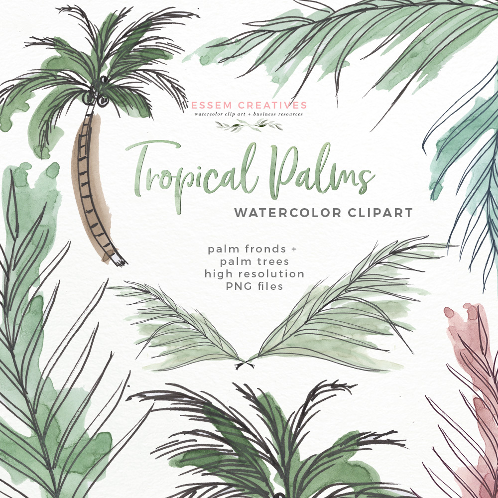 Bridal shower hawaii clipart jpg freeuse stock Tropical Palm Trees Fronds Leaf Print Clipart | Watercolor Beach Hawaii  Island Greenery Jungle Theme Party Invitations jpg freeuse stock