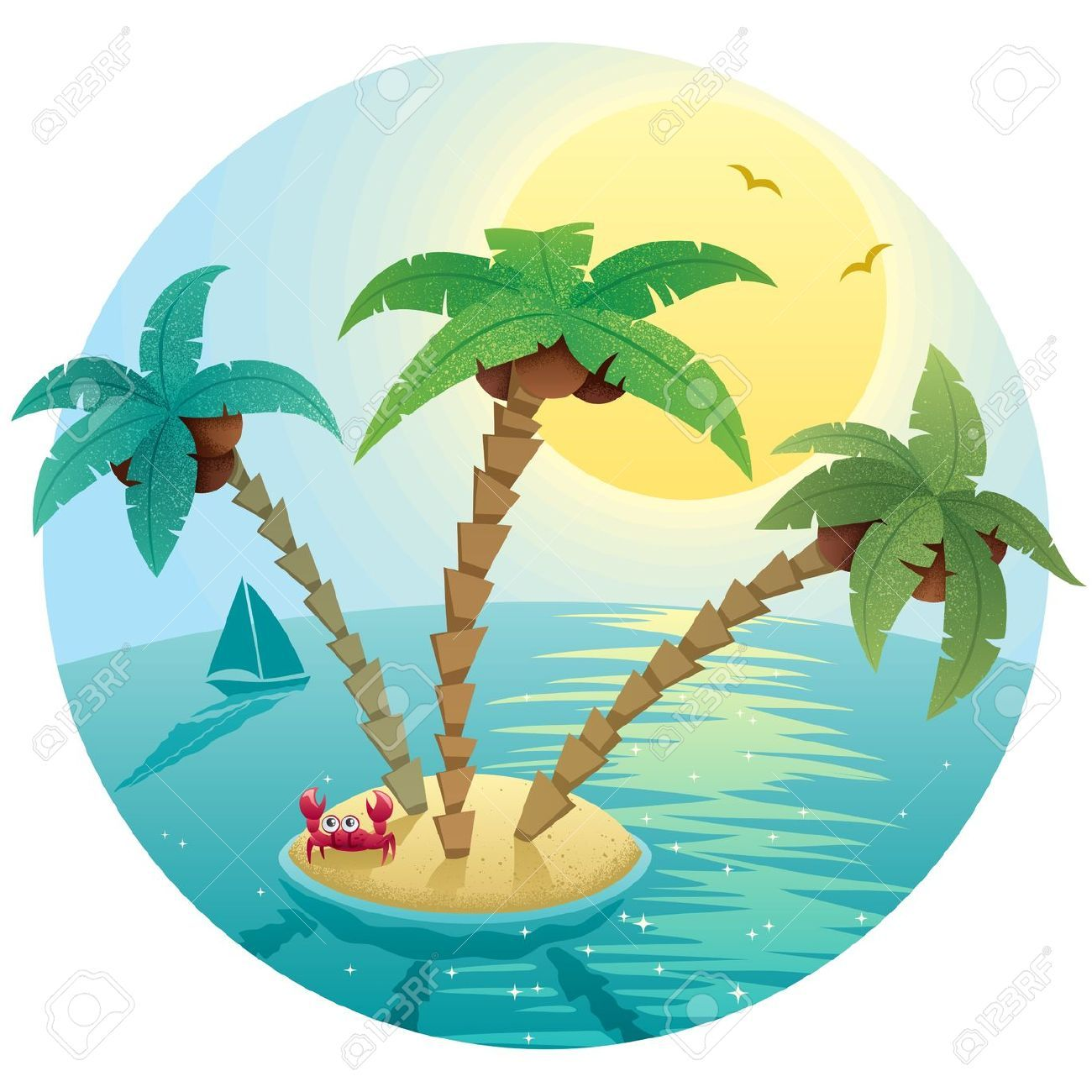 Tropical island images free clipart png transparent library landscape small tropical island stock vector cartoon palm ... png transparent library
