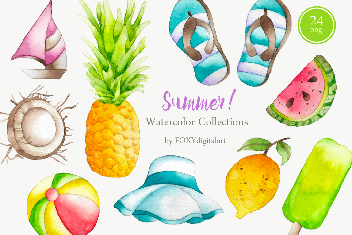 Watercolor Summer Holiday Tropical Island Clipart freeuse library