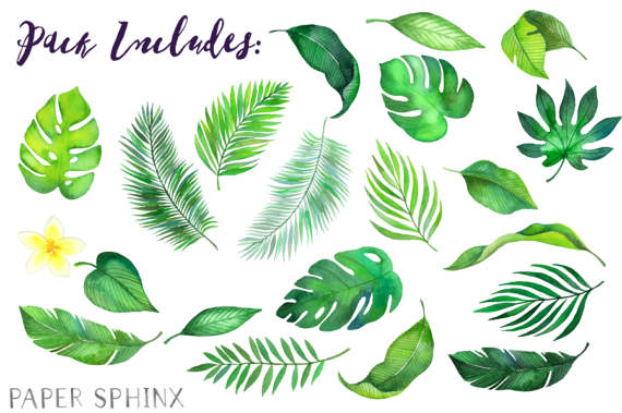 Tropical palm leaves clipart clipart transparent library Watercolor Tropical Leaves Clipart | Palm Leaves Clipart ... clipart transparent library