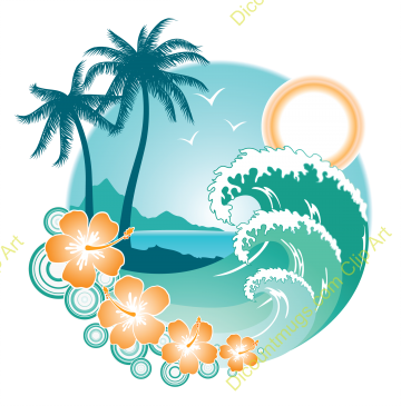 Hawaiian Tropical Paradise Clipart - Clip Art Library clipart black and white library