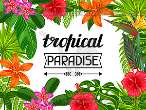 Tropical paradise card with stylized leaves and - vector clipart clipart royalty free download