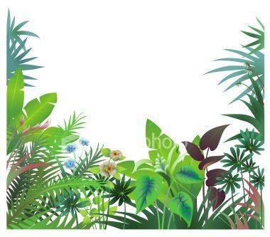 Tropical rainforest clipart vector Jungle Trees Clip Art   Tropical Rainforest Cartoon Border ... vector