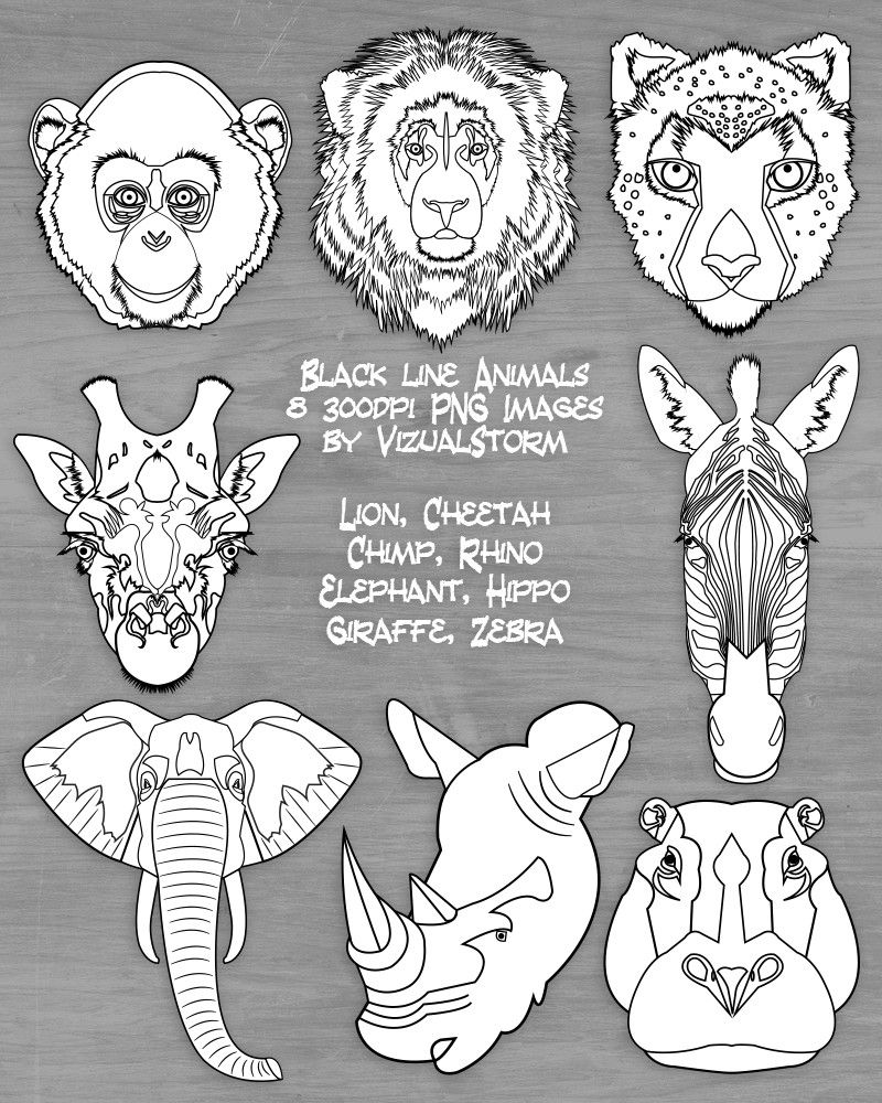 Black and White Safari Animal Face Clipart Jungle Animal ... image free library