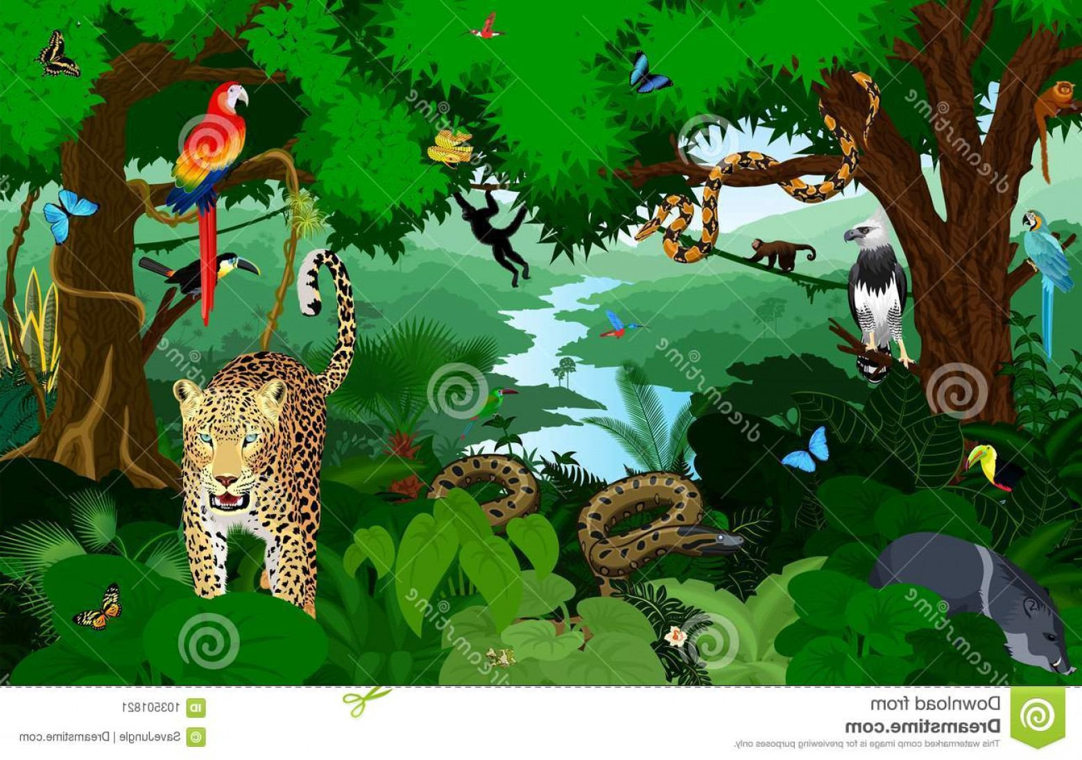 Tropical rainforest jaguar clipart vector black and white stock Rainforest Animals Vector Illustration Green Tropical Forest ... vector black and white stock