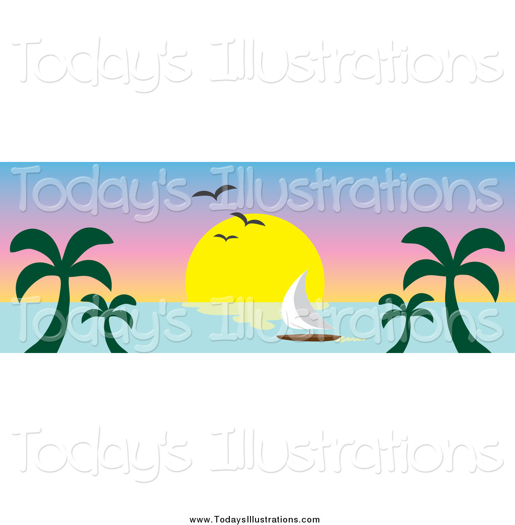 Tropical sailboat sunset page divider clipart picture royalty free library Royalty Free Stock New Designs of Headers picture royalty free library