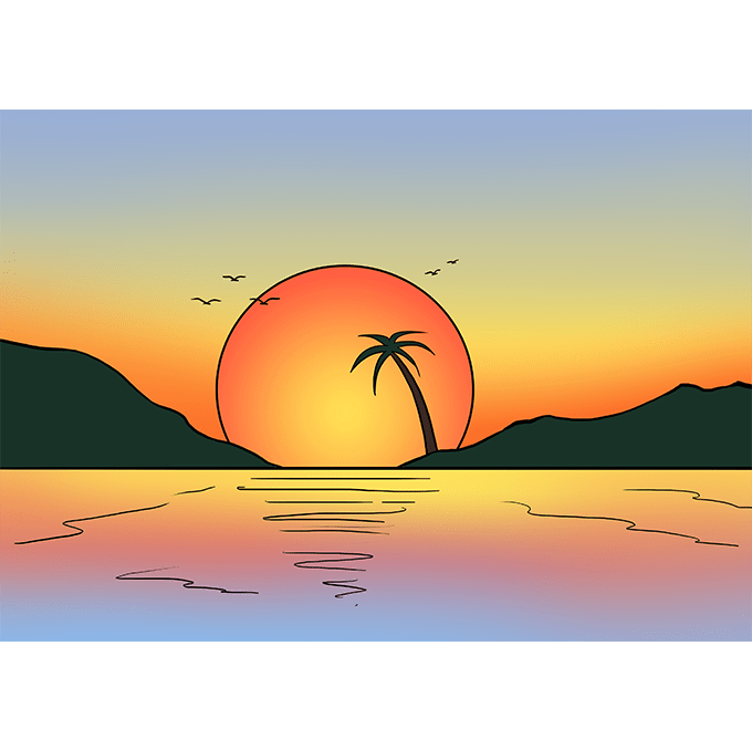 Tropical sailboat sunset page divider clipart jpg free library How to Draw a Sunset - Really Easy Drawing Tutorial | Sky ... jpg free library