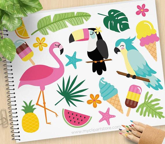 Tropical toucan clipart png transparent library Tropical Summer Clipart, Flamingo, Toucan, Parrot, Tropical ... png transparent library