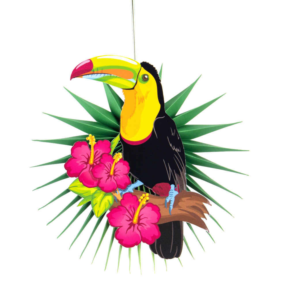 Tropical toucan clipart image free download Animal Summer Hawaiian Party Decoration 3pcs Tropical Toucan Leaves Paper  Fans Wall Hanging for Kids Birthday Party Decor image free download