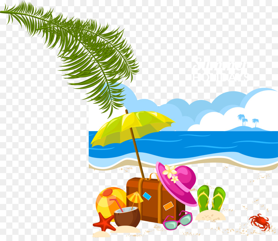 Tropical vacation clipart graphic black and white stock Summer Tropical png download - 2978*2545 - Free Transparent ... graphic black and white stock
