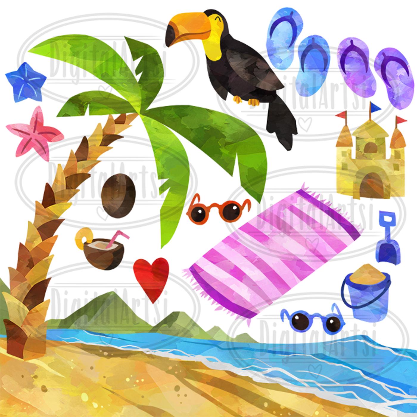 Tropical vacation clipart jpg Watercolor Tropical Vacation Clipart jpg