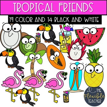 Tropical vacation clipart royalty free library Tropical Friends | Flamingo | Tropical Clipart | Vacation Clipart royalty free library