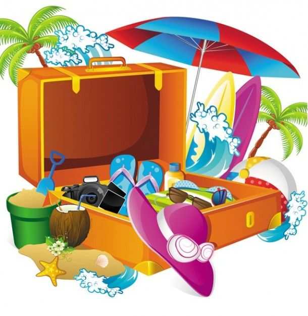 Tropical vacation clipart png free library Packing for a tropical vacation illustration | Smart packing ... png free library