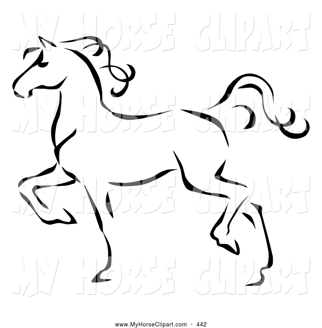 Trotting clipart clipart royalty free stock Clip Art of a Graceful Black Line Art Trotting Horse Profile ... clipart royalty free stock