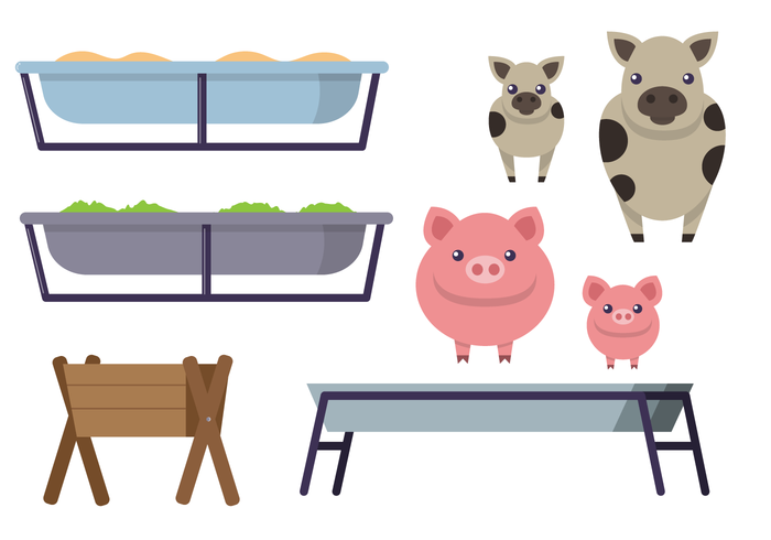 Feeding Trough With Animals Vector Set - Download Free ... graphic library