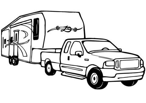 Truck and 5th wheel clipart image download Pin by Ron Kohlmann on Cool Adult Coloring Books   Camper ... image download