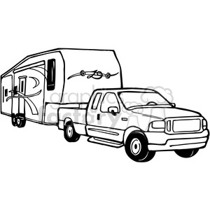 Truck and RV Camper Trailer clipart. Royalty-free clipart # 387709 stock