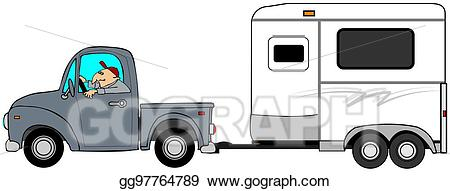 Truck pulling camper clipart clip library Stock Illustration - Man driving a truck and towing a horse ... clip library