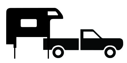 Truck with camper clipart banner black and white stock The secret to loading a truck camper and avoiding truck and ... banner black and white stock