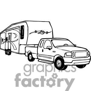 Truck and 5th wheel clipart graphic free library Truck and RV Camper Trailer clipart. Royalty-free clipart ... graphic free library