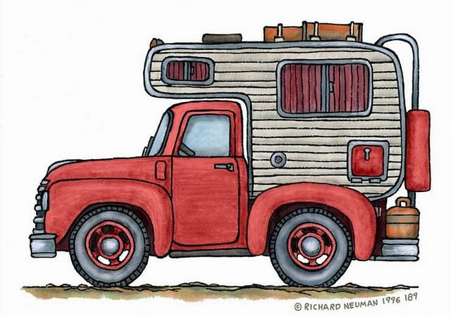Truck with camper clipart vector black and white library Whimsical Vintage Truck Camper | Art | Pickup camper, Truck ... vector black and white library