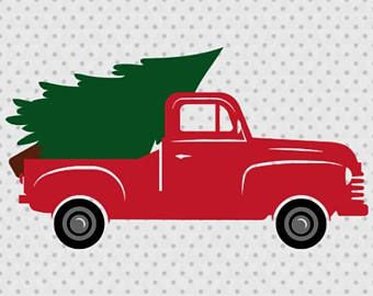 Truck with christmas tree clipart black and white picture royalty free stock Christmas Tree Truck, Old Truck, Vintage, Antique, SVG ... picture royalty free stock