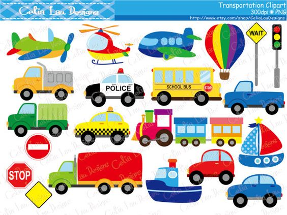 Trucks and plane clipart graphic transparent library Transportation Clipart ,Car, Taxi, School Bus, Police Car, Truck ... graphic transparent library