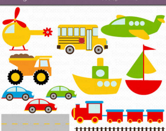 Trucks and plane clipart graphic royalty free Car plane boat train clipart – Etsy graphic royalty free