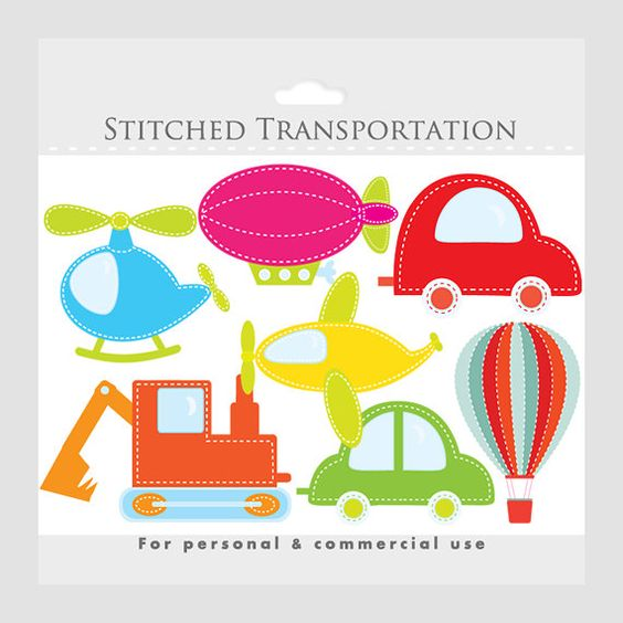 Trucks and plane clipart banner library library Transportation clipart, stitched - colored fabric cars, hot air ... banner library library