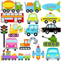 Trucks and plane clipart clipart royalty free library Transportation Clip Art Clipart with Car, Truck, Train, Helicopter ... clipart royalty free library