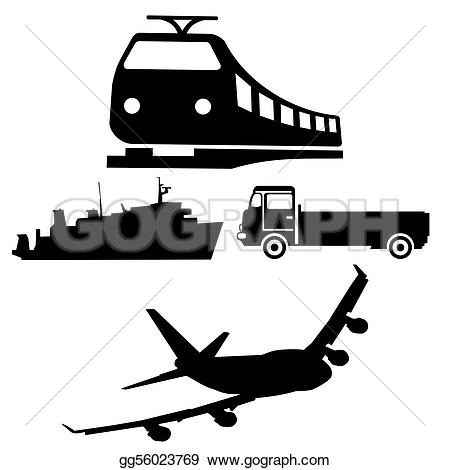Trucks and plane clipart image Stock Illustration - Boat train truck and plane silhouettes ... image