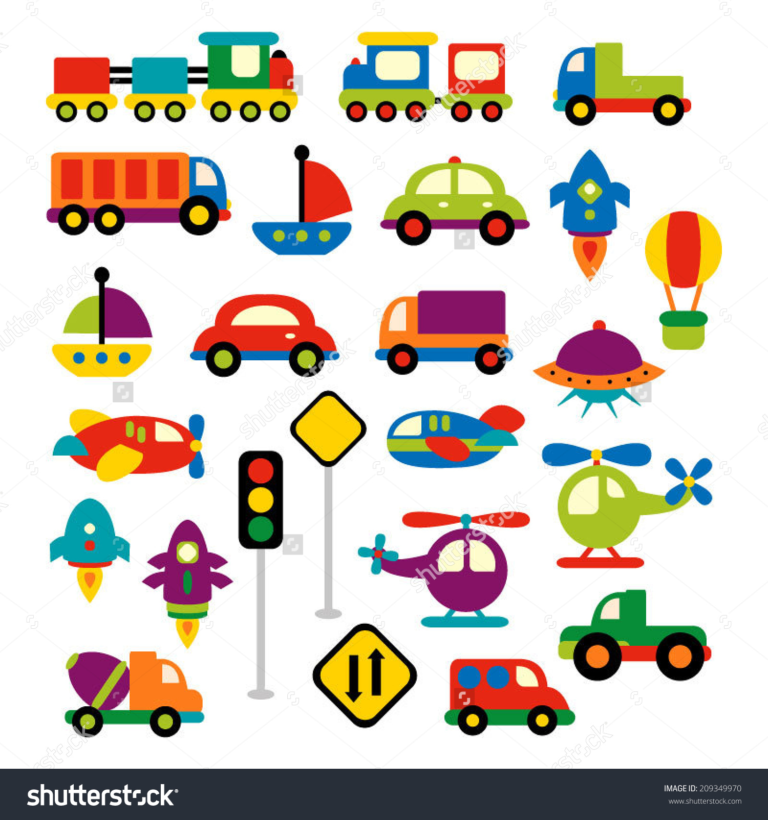 Trucks and plane clipart vector royalty free Transportation Vector Clip Art Bright Colors Stock Vector ... vector royalty free