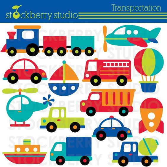 Trucks and plane clipart banner transparent library Transportation Clipart - Plane, Train and Automobiles - Instant ... banner transparent library