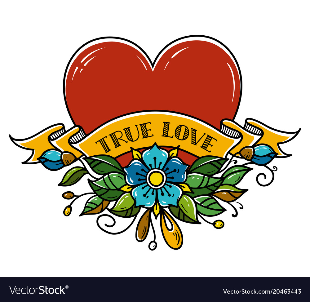 Tattoo heart pierced with arrow true love amour banner free library
