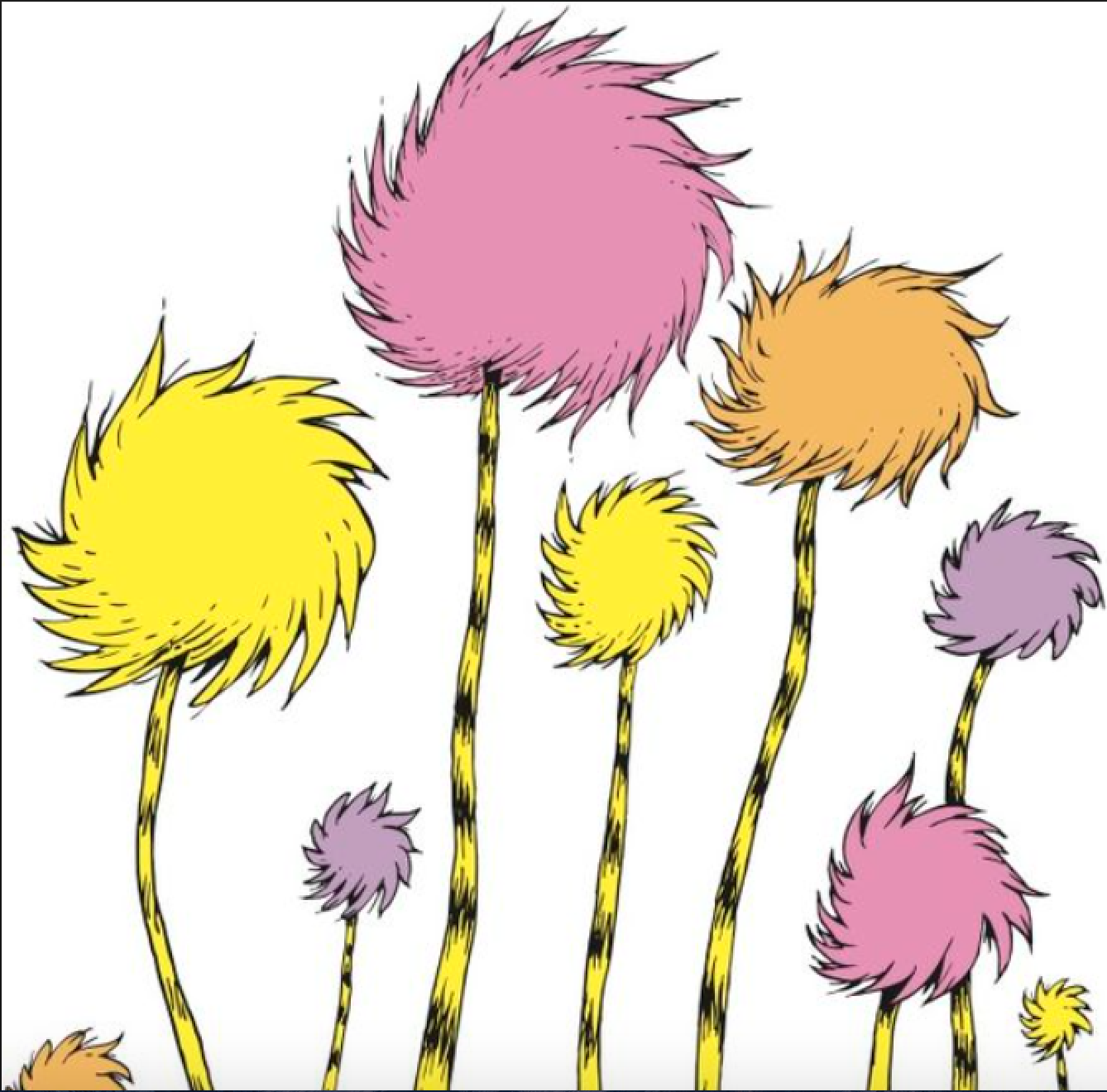 Truffula tree clipart black and white banner freeuse download Dr Seuss Yellow Truffula Tree Png & Free Dr Seuss Yellow ... banner freeuse download