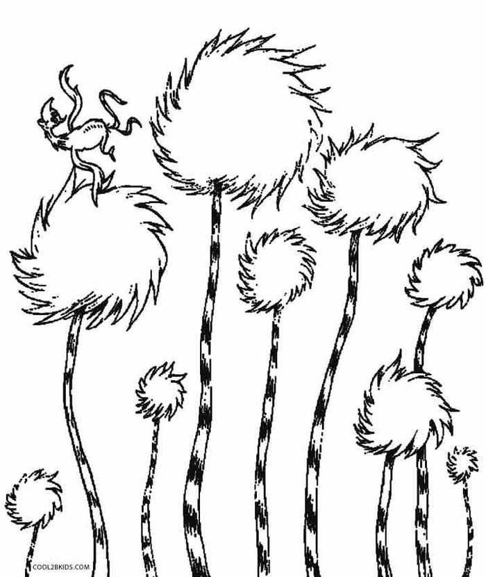 Truffula tree clipart black and white image royalty free download Lorax Coloring Pages Printable | Movie Coloring Pages ... image royalty free download