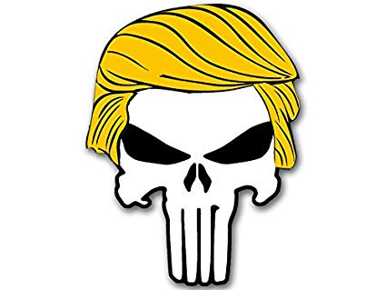 American Vinyl Punisher w/Trump Hair Shaped Sticker (Bumper pro Donald  Military GOP q) clip freeuse