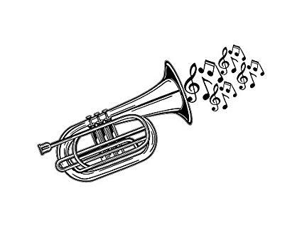 Trumpet clipart decor jpg Amazon.com: Yetta Quiller Trumpet French Horn Bell Brass ... jpg