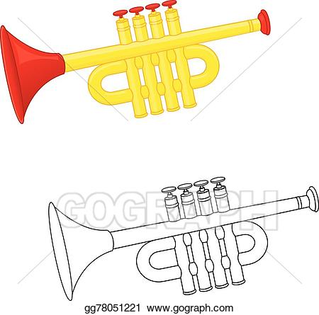 Trumpet clipart for preschool svg library Vector Art - Trumpet toy. coloring book. Clipart Drawing ... svg library