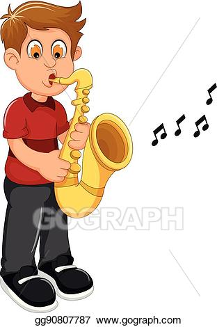Trumpet clipart for preschool picture freeuse Vector Stock - Funny boy cartoon playing trumpet. Clipart ... picture freeuse