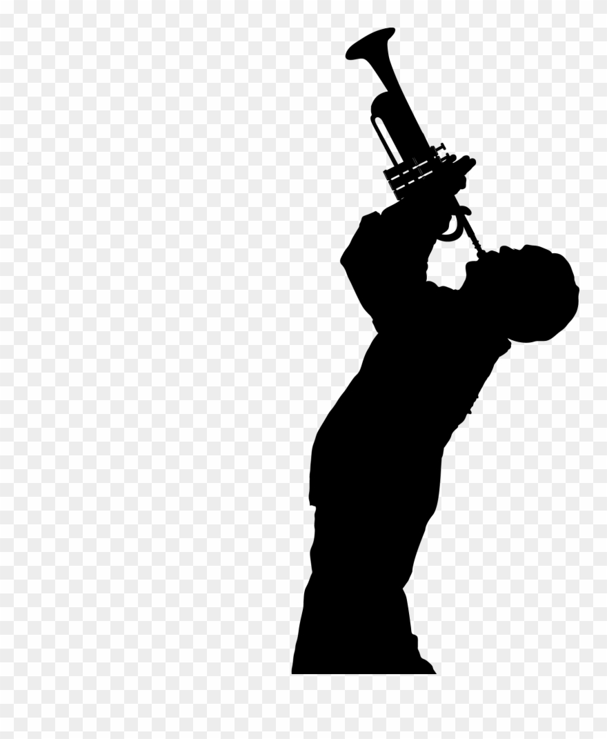 Trumpet player silhouette clipart