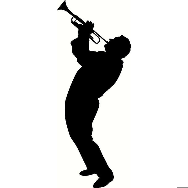 Trumpet player silhouette clipart banner black and white library Saxophone Player Clipart | Free Images at Clker.com - vector ... banner black and white library