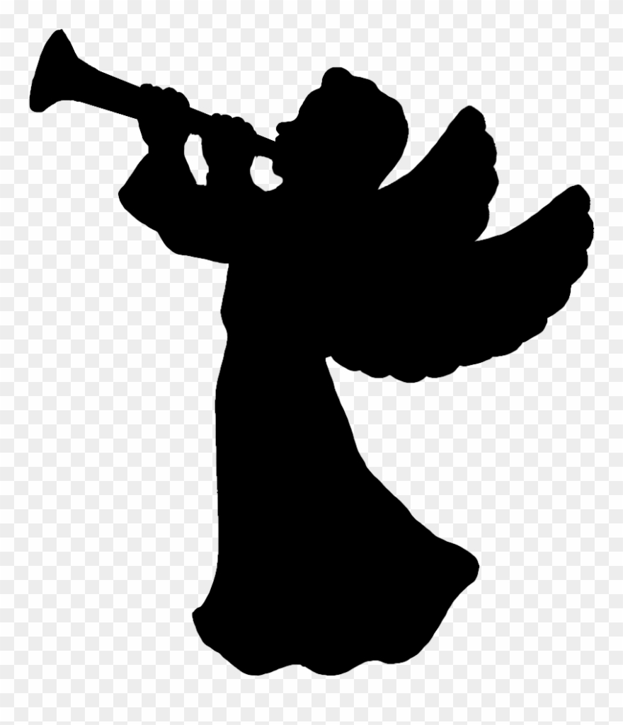 Trumpeting angel clipart clipart black and white library Angel Silhouette - Angel With Trumpet Silhouette Clipart ... clipart black and white library