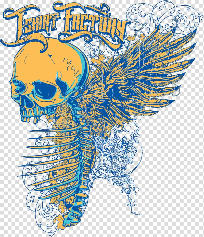 Tshirt wings clipart image transparent download T-shirt Graphic design, Skull Wings printing transparent ... image transparent download